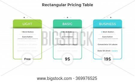 Three Rectangular Pricing Tables Or Cards With List Of Included Options. Light, Basic And Business S