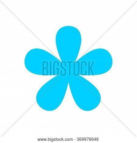 Flower Blue Simple Shape Isolated On White, Blue Flowers Single, Petals Flower Blue For Clip Art