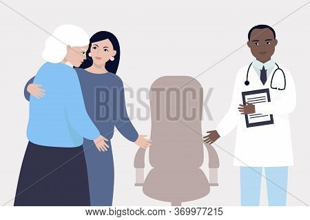 An Elderly Woman At The Doctor's Appointment. The Daughter Takes Care Of Her Mother And Supports Her