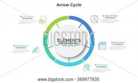 Circular Diagram Divided Into 5 Colorful Arrow-like Parts. Concept Of Five Stages Of Cyclic Process.