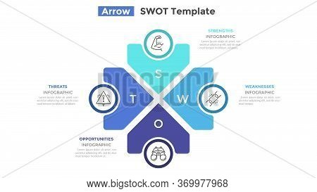 Swot Diagram With 4 Arrow-like Elements Pointing At Center. Concept Of Advantages And Disadvantages