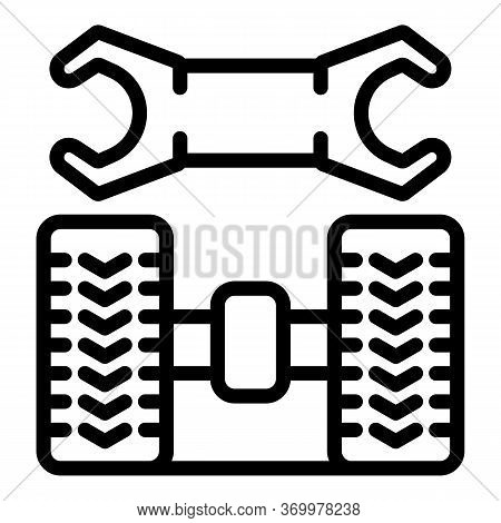 Rear Tire Fitting Icon. Outline Rear Tire Fitting Vector Icon For Web Design Isolated On White Backg