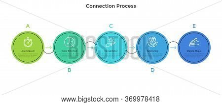 Five Colorful Circular Elements Placed In Horizontal Row And Connected By Arrows. Concept Of 5 Succe