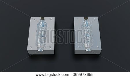 Mould Of Pet Plastic Bottles Drinking Water Container. 3d Rendering Image