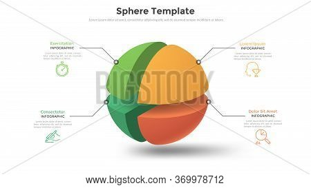 Sphere Or Ball Split Into 4 Colorful Parts Or Pieces And Place For Text. Concept Of Business Model W