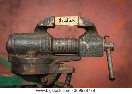 Concept Of Dealing With Problem. Vice Grip Tool Squeezing A Plank With The Word Striation