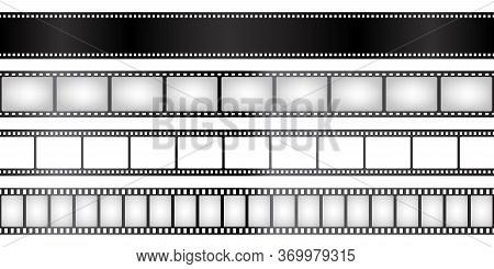 Film Strips Collection. Old Retro Cinema Movie Strip. Vector Illustration. Video Recording.