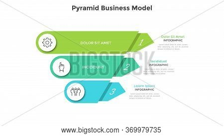 Inverted Pyramid Divided Into 3 Colorful Parts Or Layers. Concept Of Three Stages Or Steps Of Busine