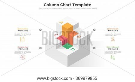 Four Cubic Columns Or Levels To Compare. Concept Of 4 Stages Or Steps Of Modern Business Strategy Pl
