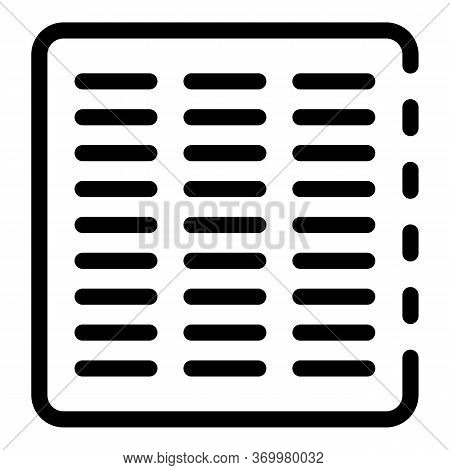 Metal Vent Cover Icon. Outline Metal Vent Cover Vector Icon For Web Design Isolated On White Backgro