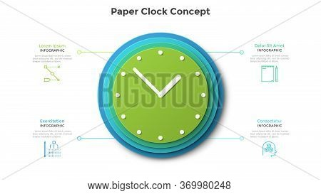 Clock Face Made Of Four Circular Paper Elements Placed One On Another. Concept Of 4 Features Of Effe