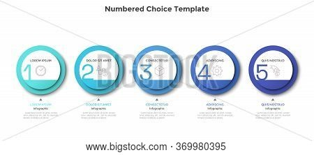 Horizontal Row Or Timeline With Five Circular Paper White Elements. Concept Of 5 Successive Steps Of