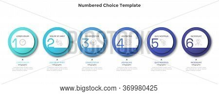Horizontal Row Or Timeline With Six Circular Paper White Elements. Concept Of 6 Successive Steps Of