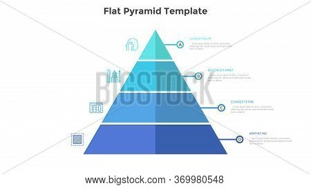 Segmented Pyramidal Chart With Four Colorful Stages Or Levels. Concept Of 4 Steps Of Business Analys