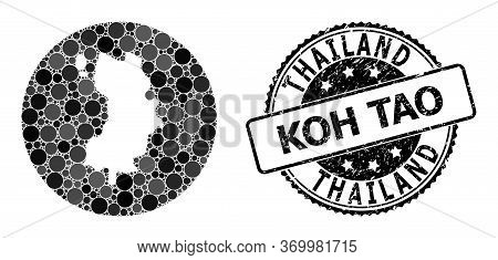 Vector Mosaic Koh Tao Map With Round Elements, And Grey Rubber Stamp. Subtraction Round Koh Tao Map