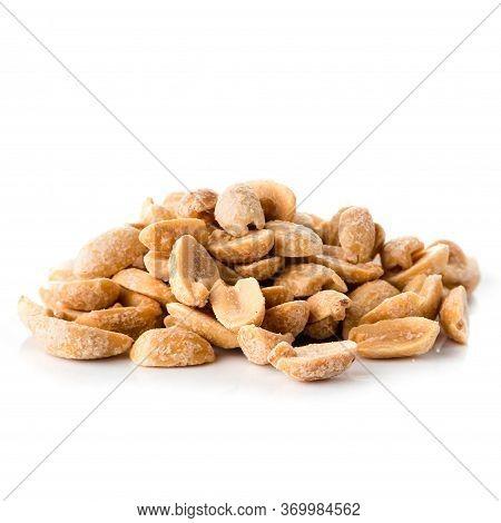 Close-up Image Of Peanuts Studio Isolated, Roasted Peeled Peanuts Walnut Salty Roasted Food Ingredie