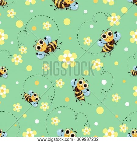 Bee Meadow. Bee Swarming, Honey Bees Fly In A Flower Meadow. Cute Cartoon Character. Seamless Patter