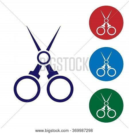 Blue Scissors Hairdresser Icon Isolated On White Background. Hairdresser, Fashion Salon And Barber S