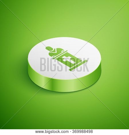 Isometric Church Pastor Preaching Icon Isolated On Green Background. White Circle Button. Vector Ill