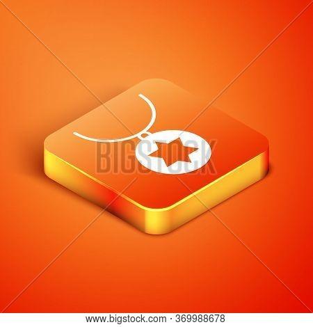Isometric Star Of David Necklace On Chain Icon Isolated On Orange Background. Jewish Religion. Symbo