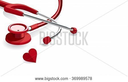 Ector Illustration Of A Red Stethoscope. Suitable For Design Elements Of Health Campaigns, Disease S