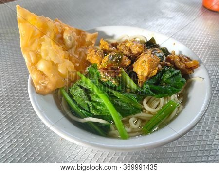 Indonesian Famous Noodle, Mie Ayam With Fried Wonton, Ready To Be Served.