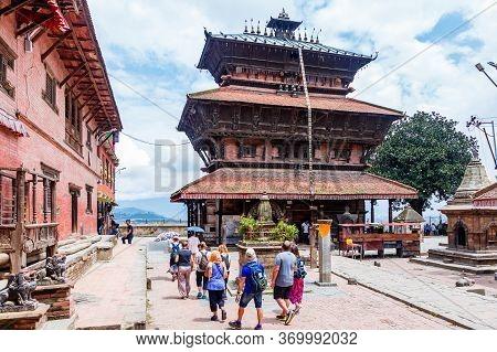 Kathmandu,nepal - August 15,2019: Group Of Tourist At Bagh Bhairav Temple Kathmandu Nepal.tourist Tr