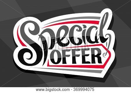 Vector Logo For Special Offer Sale, White Decorative Price Tag For Black Friday Or Cyber Monday Sale
