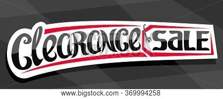Vector Banner For Clearance Sale, Decorative Cut Paper Pricetag For Black Friday Or Cyber Monday Sal