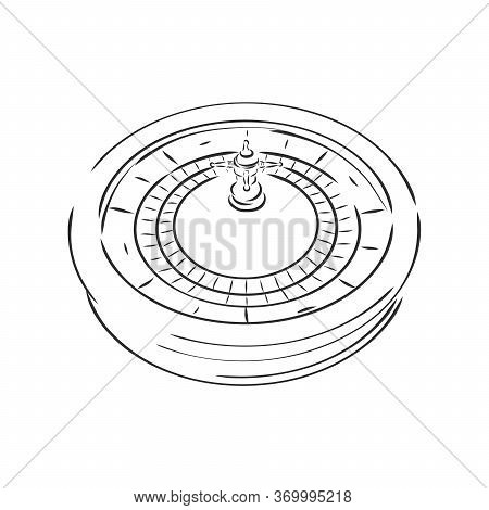 Casino Roulette Wheel Hand Draw Sketch Vintage Retro Style Elements For Your Design. Vector Illustra