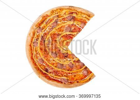 Tasty Salsiccia Pizza Without A Quarter Isolated On White Background With Clipping Path. Pizza With