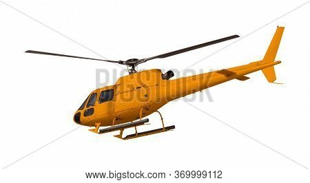 Orange Helicopter Isolated On White. Photo With Clipping Path.