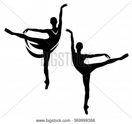 Elegant Ballerina Girl Standing In Arabesque Position On Pointe Shoes - Graceful Ballet Dancer Black