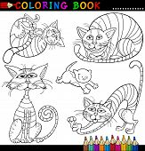 Coloring Book or Page Cartoon Illustration of Funny Cats for Children poster