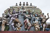 gods and goddesses on the roof of hindu temple, sri lanka poster