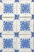 Detail of the traditional tiles (azulejos) from facade of old house in Lisbon, Portugal poster