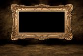 Baroque Style Blank Picture Frame on Grungy Distressed Wall poster