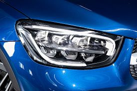 Novosibirsk/ Russia - April 28, 2020:  Mercedes-benz Glc-class,  Detail Light Close Up Of On New Car