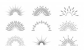 Sunburst Icon. Sun Burst With Lines. Retro Logo Of Half Circle With Radial Rays. Graphic Burst Of Su