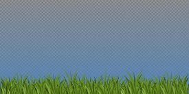 Blue Sky And Green Grass. Vector Countryside Background. Cloudy Landscape Without The Sun. Stock Pho
