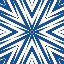 Vector Abstract Geometric Pattern. Simple Texture With Concentric Lines, Arrows, Burst. Simple Blue
