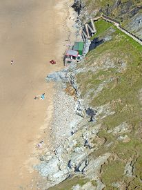 Aerial View Of Perranporth Beach In Cornwall