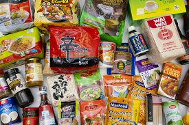Melbourne, Australia - June 5, 2020: Top Down View Of Various Products From Asian Grocery