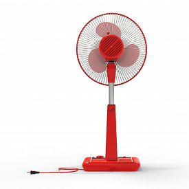 Red Electric Fan. Three-dimensional Model On A White Background. Fan With Control Buttons On The Sta