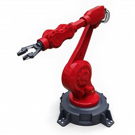 Robotic Red Arm For Any Work In A Factory Or Production. Mechatronic Equipment For Complex Tasks. 3d