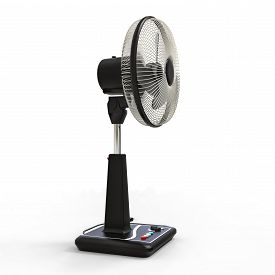 Black Electric Fan. Three-dimensional Model On A White Background. Fan With Control Buttons On The S