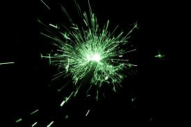 Green Sparkler Countdown On Fire With Spread Of Glitter Sparks. Luxury Entertainment At E.g. New Yea