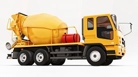 Orange Concrete Mixer Truck White Background. Three-dimensional Illustration Of Construction Equipme