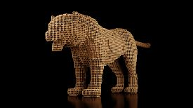 A Tiger Made Of Many Cubes On A Black Uniform Background. Constructor Of Cubic Elements. Art Of The