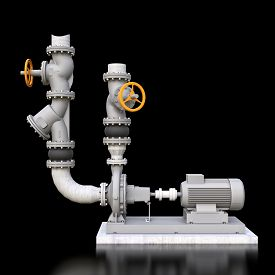 3d Model Of An Industrial Pump And Pipe Section With Shut Off Valves On A Black Isolated Background.